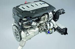 The engine of a 2009 BMW 335d