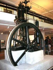 The first diesel engine, 1897, on display in the Deutsches Museum