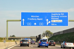 Driving on the A8 in Germany