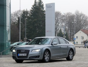 An Audi A8 at the Audi Forum in Ingolstadt