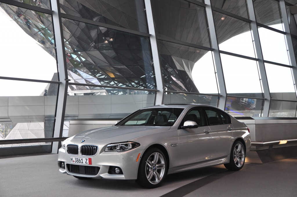 A BMW 5 Series at the BMW Welt in Munich