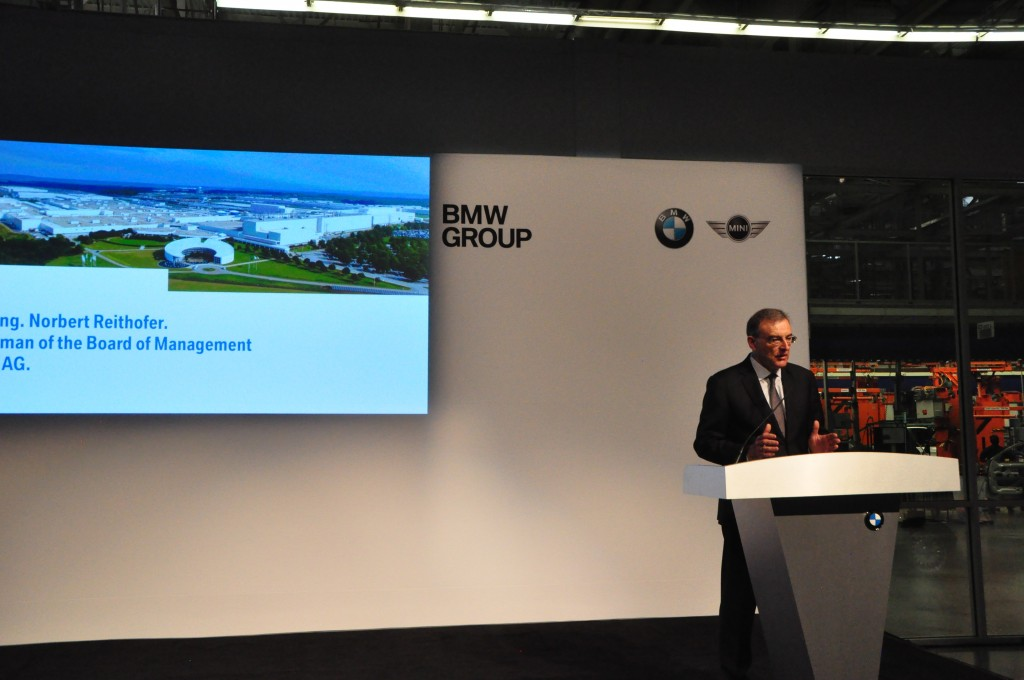 BMW CEO Norbert Reithofer announcing the expansion of its Spartanburg plant earlier this year