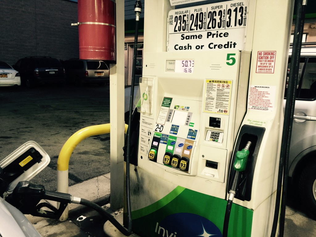 Gasoline prices in New York in January 2015