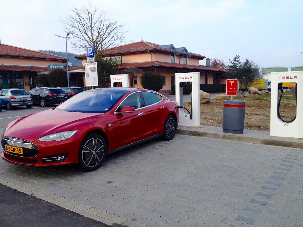 A Tesla S at a charging station