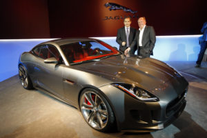 Ian Callum (r.), head of Jaguar design, with FBT's Jonathan Spira